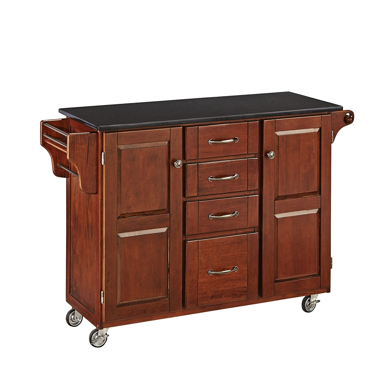 Create-a-Cart Medium Cherry 2 Door Cabinet Kitchen Cart with Black Granite Top by Home Styles