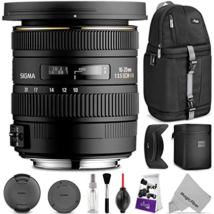 Sigma 10-20mm f/3 5 EX DC HSM ELD SLD Wide-Angle Lens for Nikon DSLR  Cameras w/Essential Photo and Travel Bundle