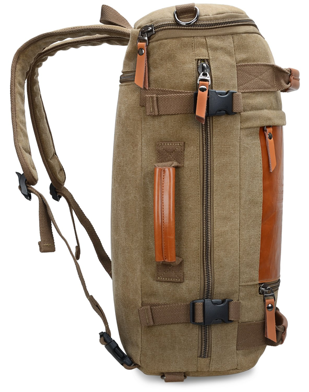 WITZMAN Men Vintage Canvas Rucksack Travel Duffel Backpack Retro Hiking Bag 2033 (19 inch Green) by WITZMAN (Image #4)