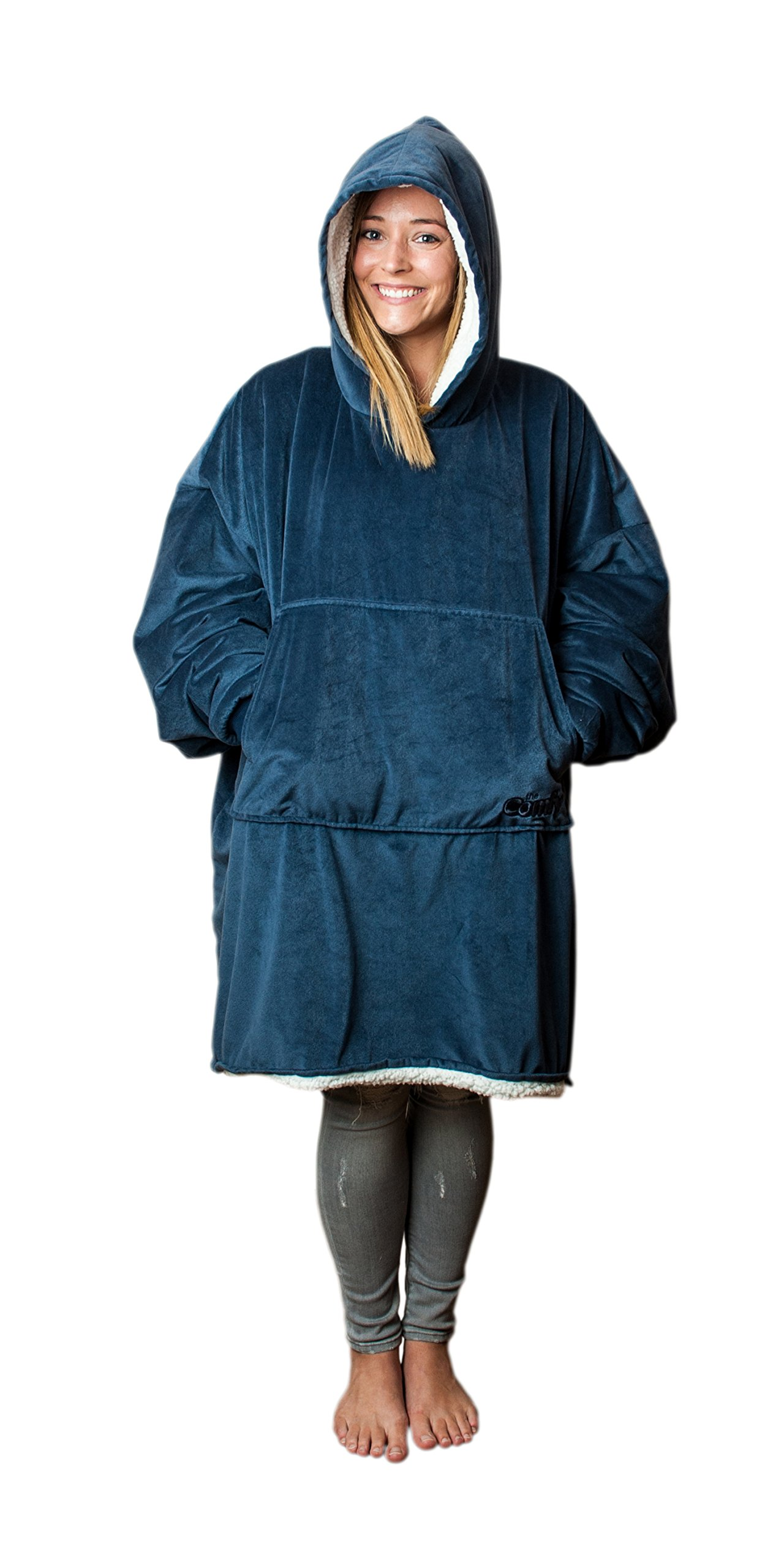 The Comfy, The Blanket… That's a Sweatshirt, One Size Fits Most, Soft Snuggly and Comfortable Blanket Sweatshirt Originally Featured on Shark Tank, Blue Color by The Comfy