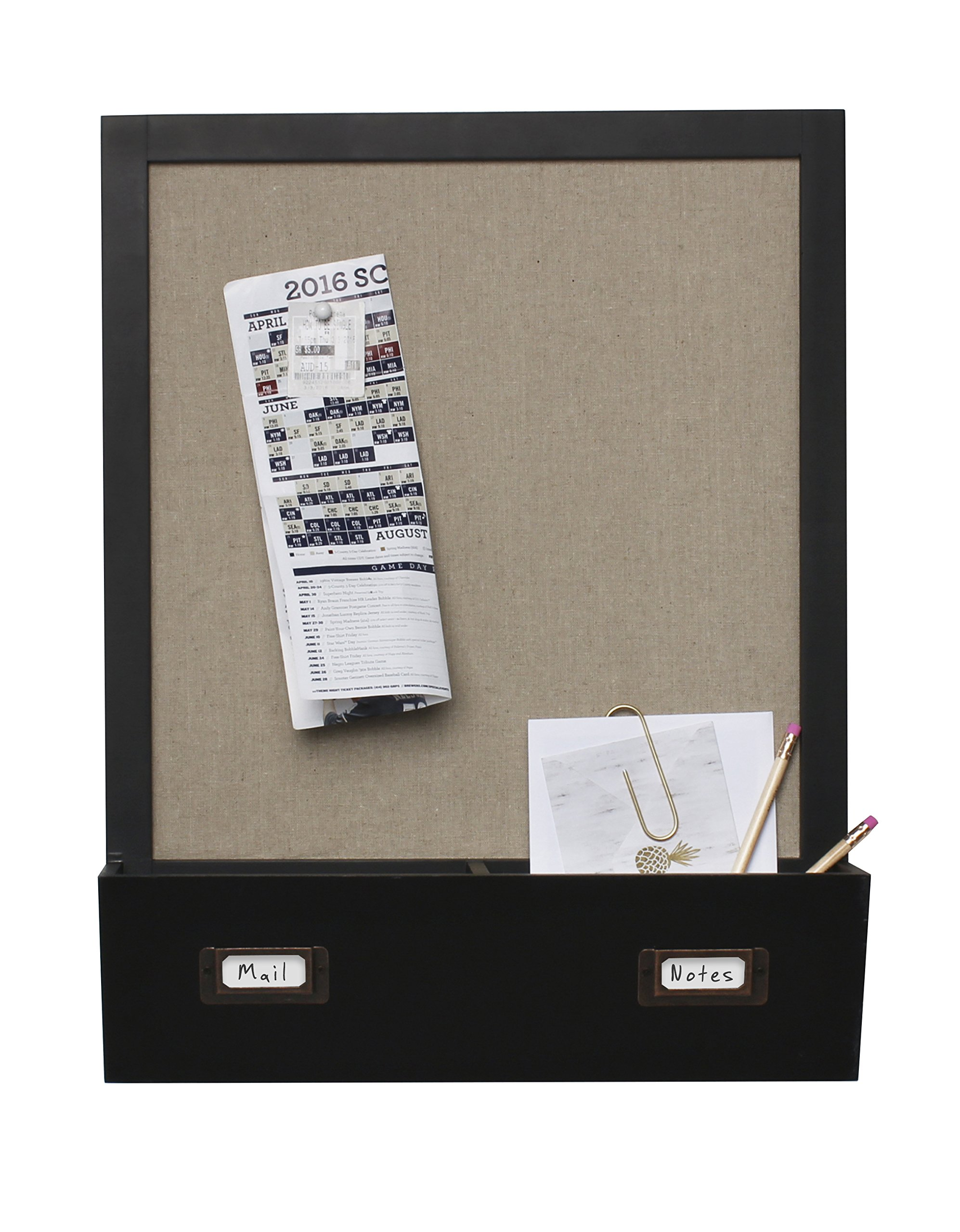 DesignOvation Decorative Wall Wood Home Organizer with Fabric Pin Board & Two Cubbies, Black (209332)