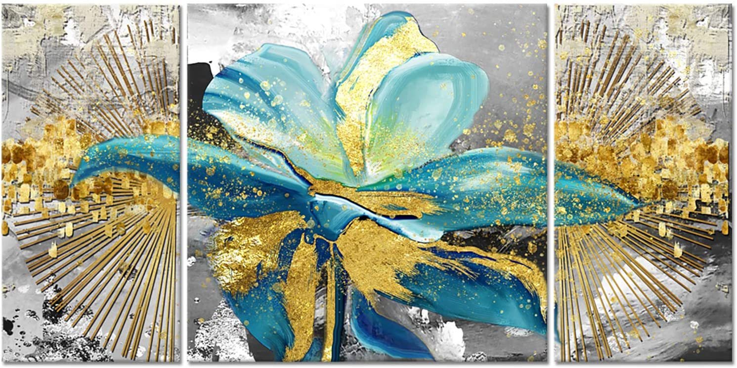 3 Panel Modern Canvas Flower Wall Art Abstract Gold Teal Floral Paintings on Canvas Still Life Artwork for Home Kitchen Living Room Bedroom Decorations Wall Decor