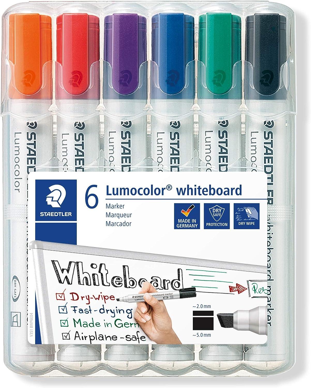 Staedtler Lumocolor Whiteboard Dry Wipe Marker 351 Bullet Tip Wallet of 6