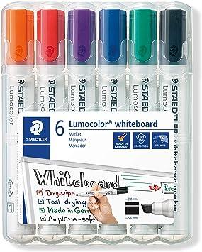 Image ofSTAEDTLER Lumocolor 351 B WP6, Rotuladores para Pizarra Blanca, Estuche con 6 Marcadores de Colores Variados, Blíster con Seis Marcadores.