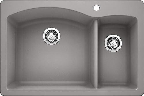 BLANCO, Metallic Gray 440198 Diamond Silgranit 70 30 Double Bowl Drop-In or Undermount Kitchen Sink, 33 X 22