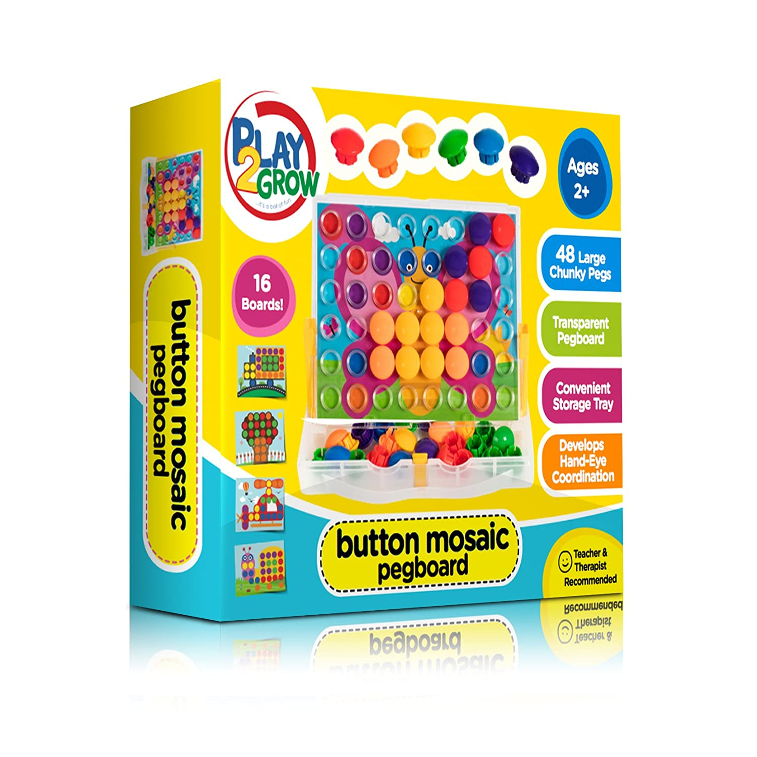 Button Mosaic Transperent Pegboard with 50 Buttons and 16 ...