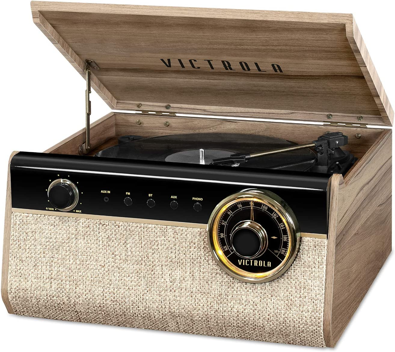 Victrola 4-in-1 Austin Bluetooth Record Player with 3-Speed Turntable and FM Radio, Farmhouse Walnut