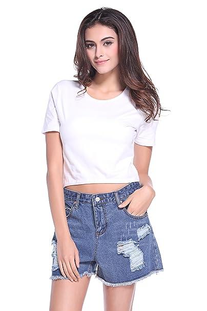 8596aea34bd235 ZLYC Women Basic Crop Top Midriff Tee Casual T Shirt Sports Yoga Shirts  (Tag S