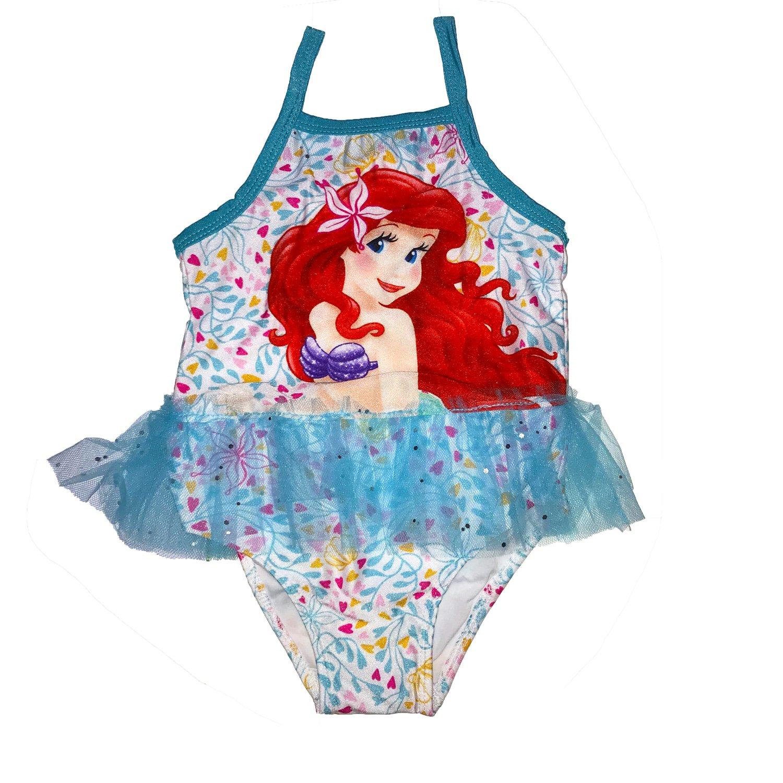 PCLOUD Little Mermaid Girls Ariel Blue One Piece Sling Swimsuit Lace Swimwear