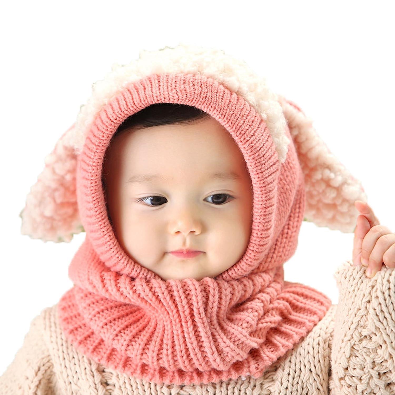 Cicilin Unisexe B/éb/é Enfant Bonnet Tricot/é Cagoule Oreilles de Chien Chapeau Calotte Cache-oreilles Coiffe dhiver Chaud Rose