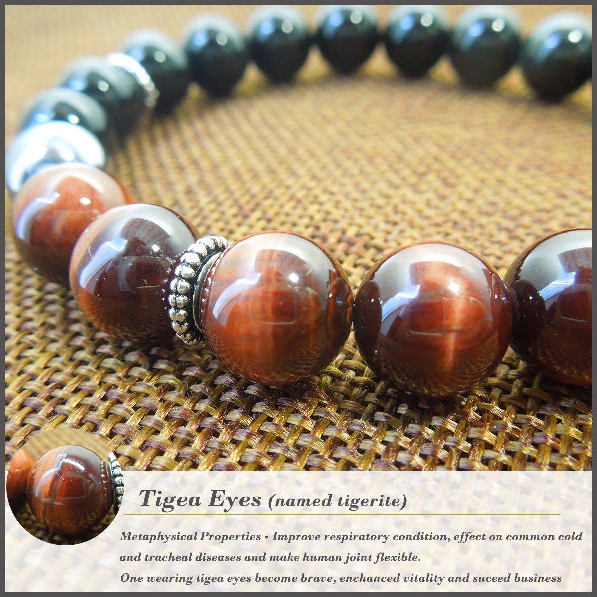 COLORFEY Mens Natural Gemstone Tiger Eye Terahertz Black Obsidian Energy Stone Buddhist Prayer Bracelet