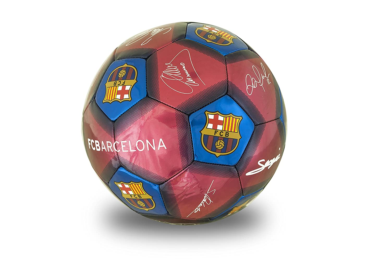 Barcelona FC Unisexs Signature Football Burgundy Size 5