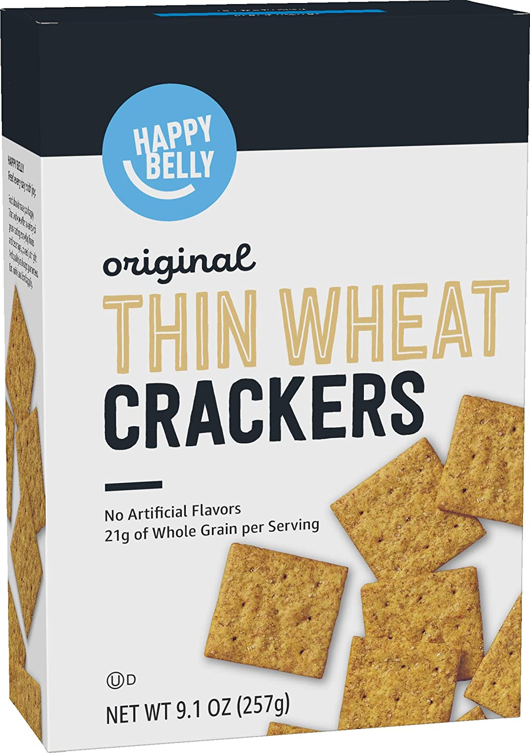 Amazon Brand - Happy Belly Original Thin Wheat Crackers, 9.1 Ounce