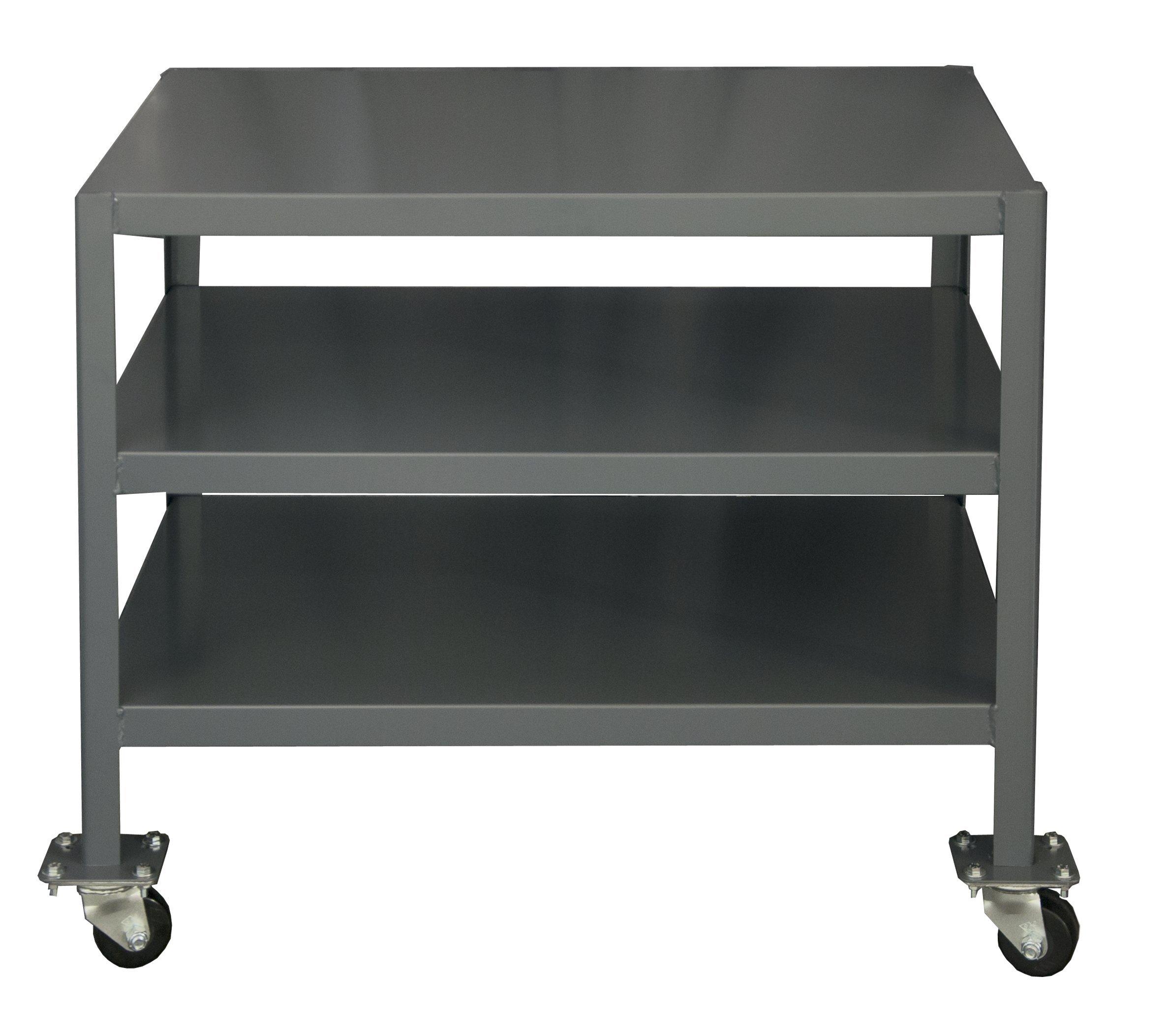 Durham Steel Mobile Medium Duty Machine Table, MTM243630-2K395, 3 Shelves, 2000 lbs Capacity, 36'' Length x 24'' Width x 30'' Height
