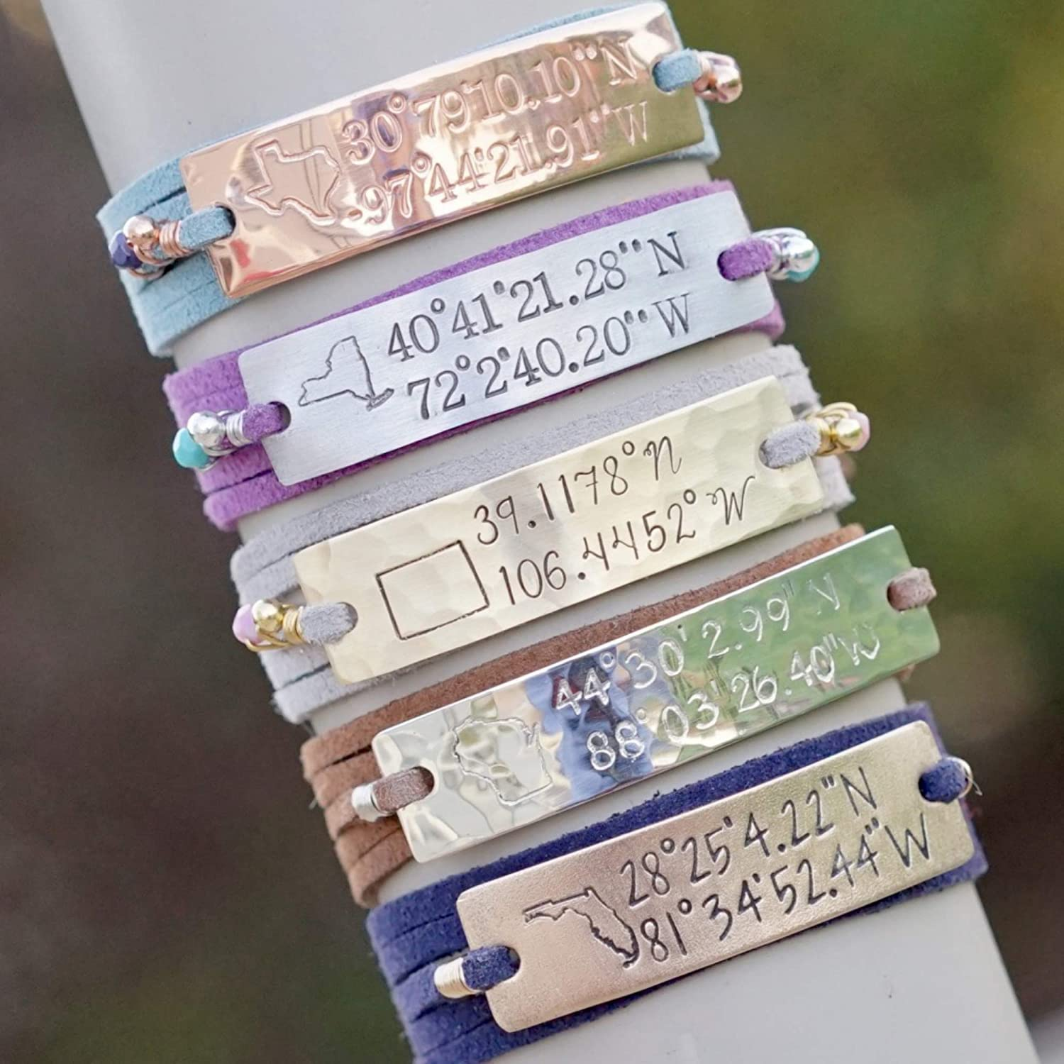 IF - Personalized Coordinate Bracelet Gift in Gold, Silver, or Copper, Location Bracelet, Coordinate Jewelry, Couples Bracelet, Couples Jewelry, Custom Bracelet, Custom Gift, Engraved Bracelet