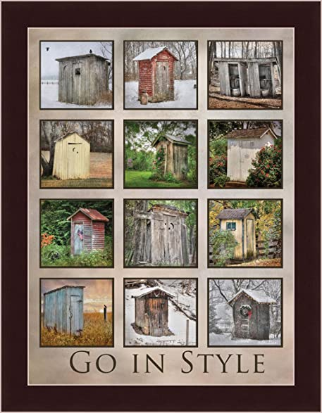 Go In Style Lori Deiter Outhouse Collage Bathroom Framed Art Print Picture  Wall Decor