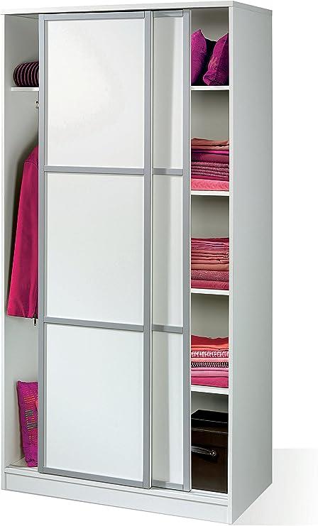 Armario ropero Color Blanco Brillo de 2 Puertas correderas, estantes Regulables, molduras Decorativas para Dormitorio. 200cm Alto x 100cm Ancho x 55cm Fondo: Amazon.es: Hogar