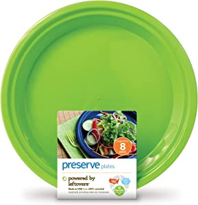 Preserve On The Go 10-1/2-Inch Large Plates, Apple Green, Set of 8, Pack of 12