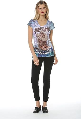 Sweet Gisele Camiseta Estampada de Texas Cowgirl para Mujer - Azul - Large: Amazon.es: Ropa y accesorios