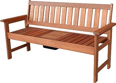 Lautan LLC Lorne Drinks Bench Seat Garden Outdoor inbuilt Drinks Cooler Wood