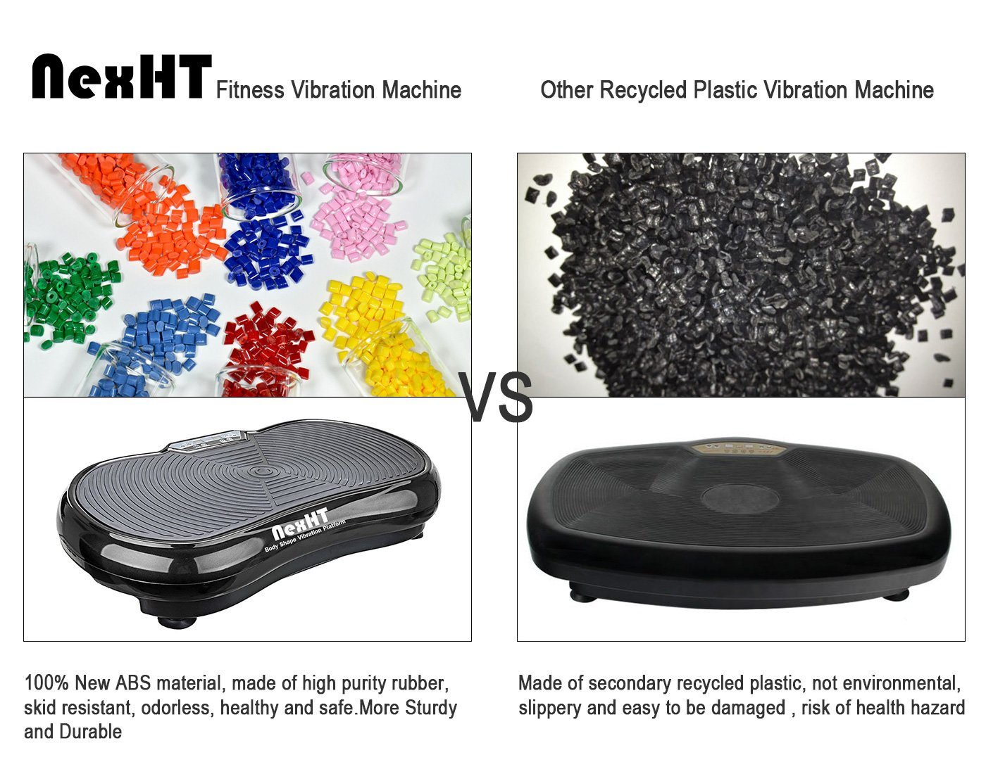 NexHT Fitness Vibration Platform Whole Body Shape Exercise Machine(89006A),Vibration Plate,Fit Massage Workout Trainer with Two Resistance Bands &Remote Controller,Max User Weight 330lbs.Black by NexHT (Image #6)