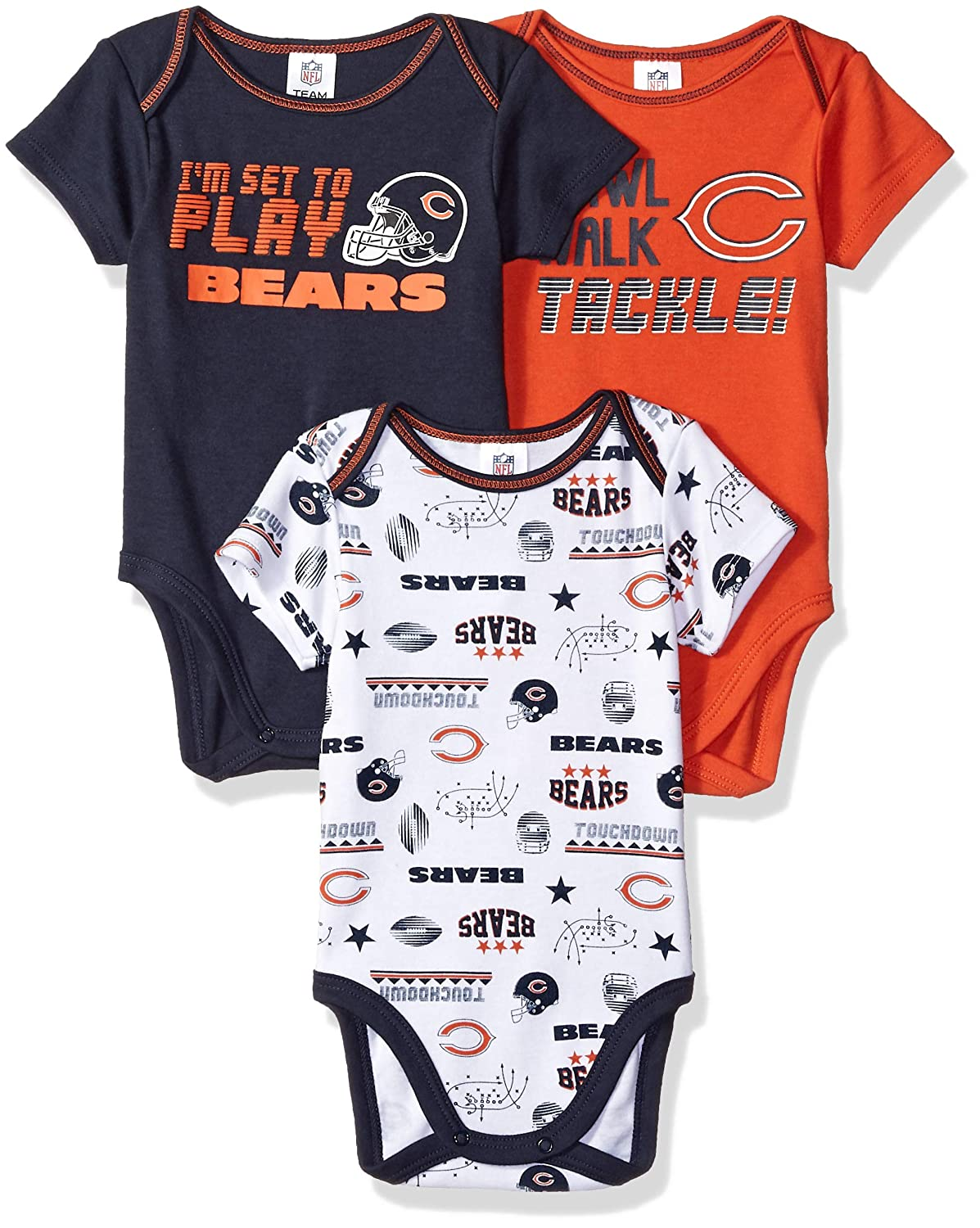Amazon.com   NFL Chicago Bears Unisex-Baby 3-Pack Short Sleeve Bodysuits ea181ffee