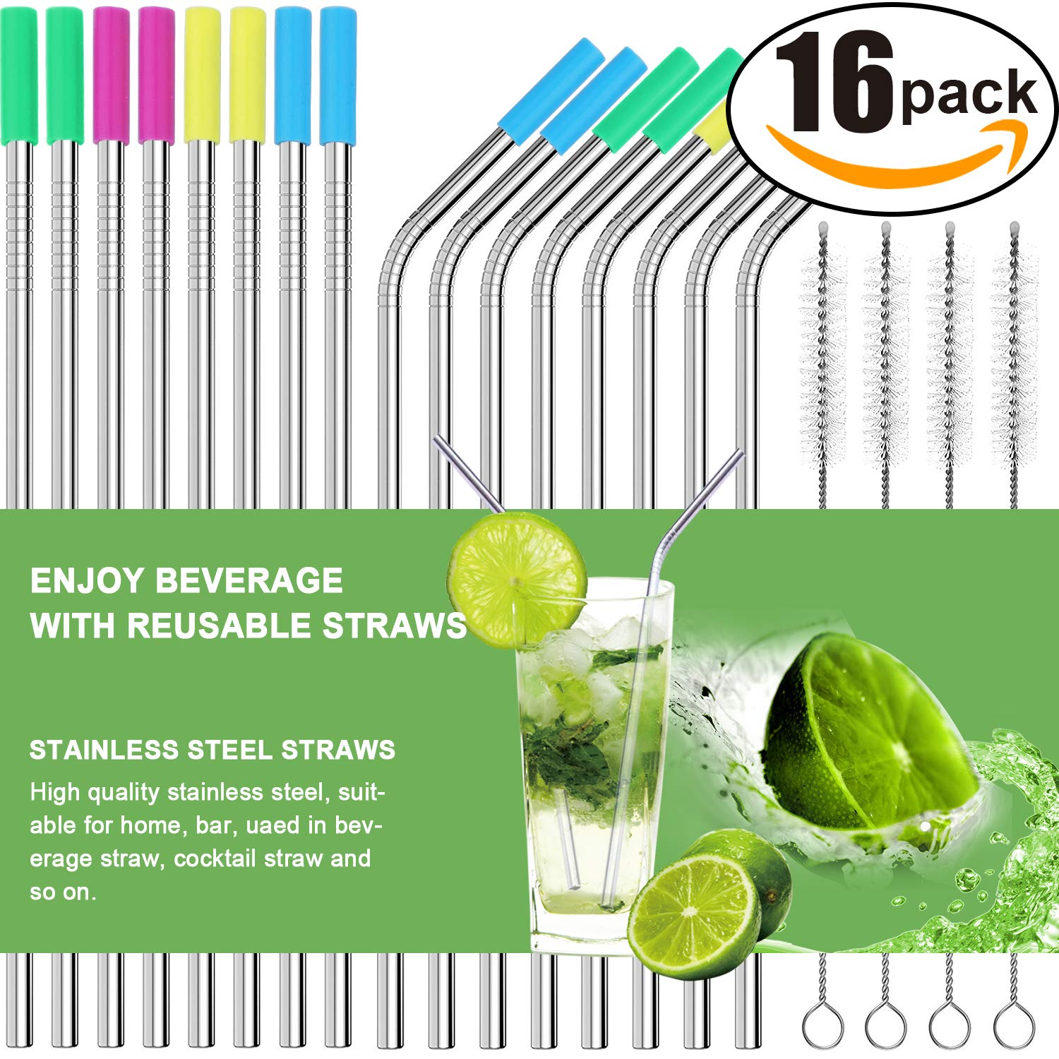 Set of 16 Stainless Steel Straws Ultra Long 10.5 Inch Drinking Metal Straws For Tumblers Rumblers Cold Beverage (8 Straight|8 Bent|4 Brushes) by AROIC
