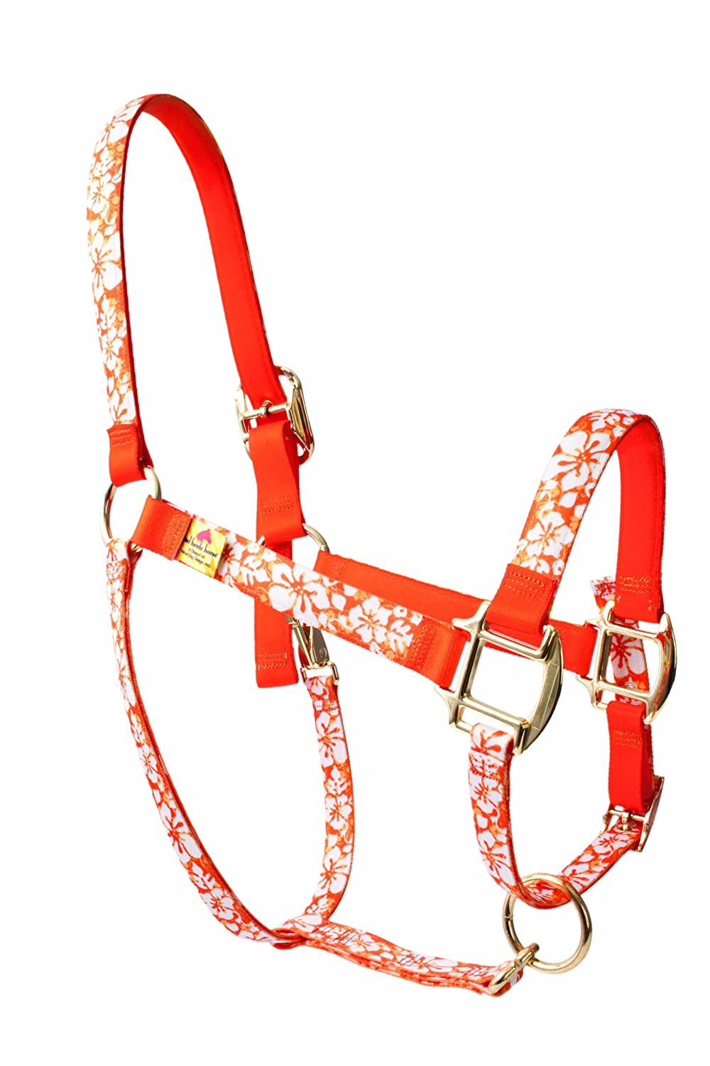 Red Haute Horse IFO1206D High Fashion Horse Horse Halter, Island Floral orange