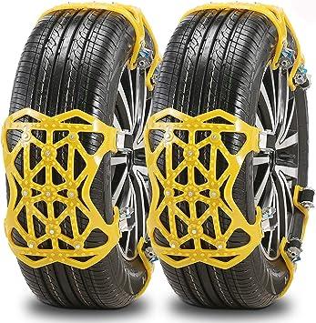 IREGRO Cadenas de Nieve Actualización 6pcs Cadenas Nieve Textil, Fácil de Instalar, Espesar Material de TPU, Apto para la Mayoría de los Automóviles, ...