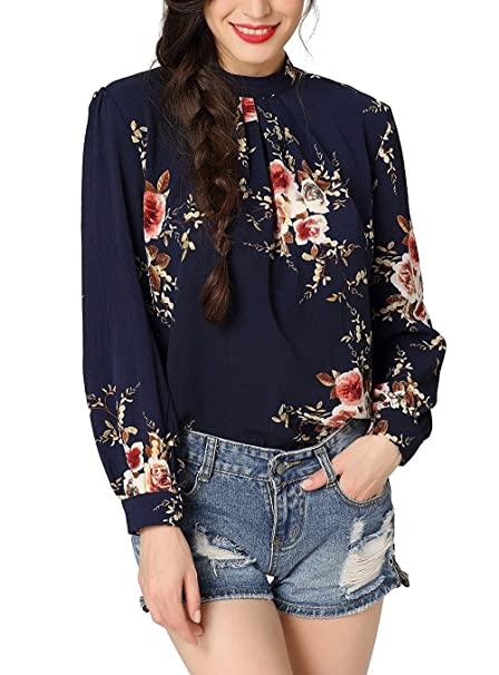 Mujer Camisetas Vintage Elegante Manga Larga Tops Estampado Flores Tul Cuello Redondo Slim Otoño Blusas Party