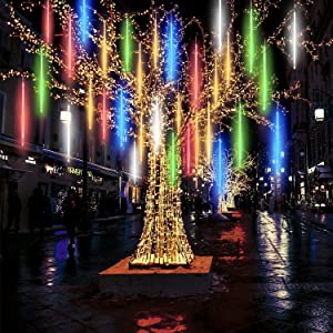 Pomelotree Shower Rain Lights 19.6 inch 10 Tube 540 LEDs Falling Meteor Rain Lights for Holiday Party Halloween Christmas Tree Decoration (Colorful)