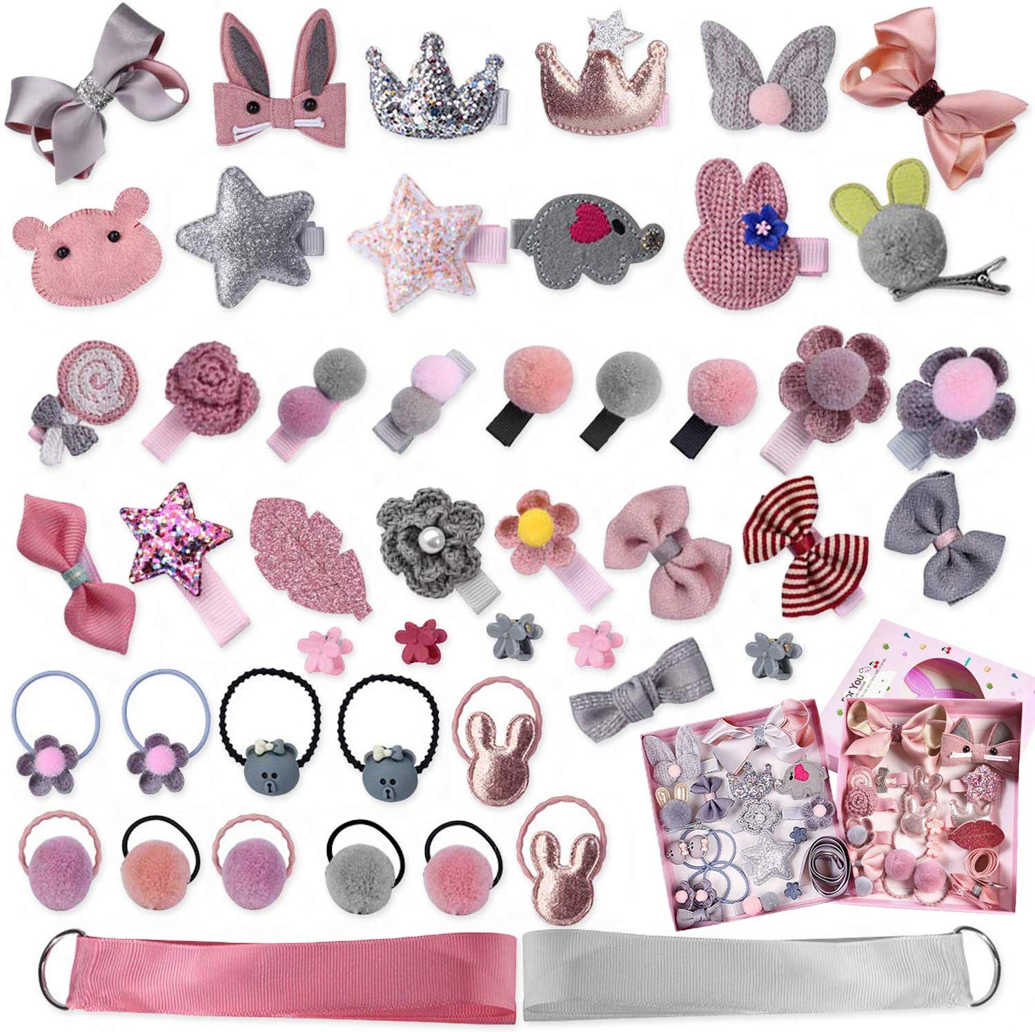 36 PCS Hair Clips Set for Little Girls Hair Rops Barrettes Baby Girls Hair Accessories Gift Set Hairpins Bows Ties Toddlers Barrettes Head Ornaments Set for Birthday Children's Day Gift