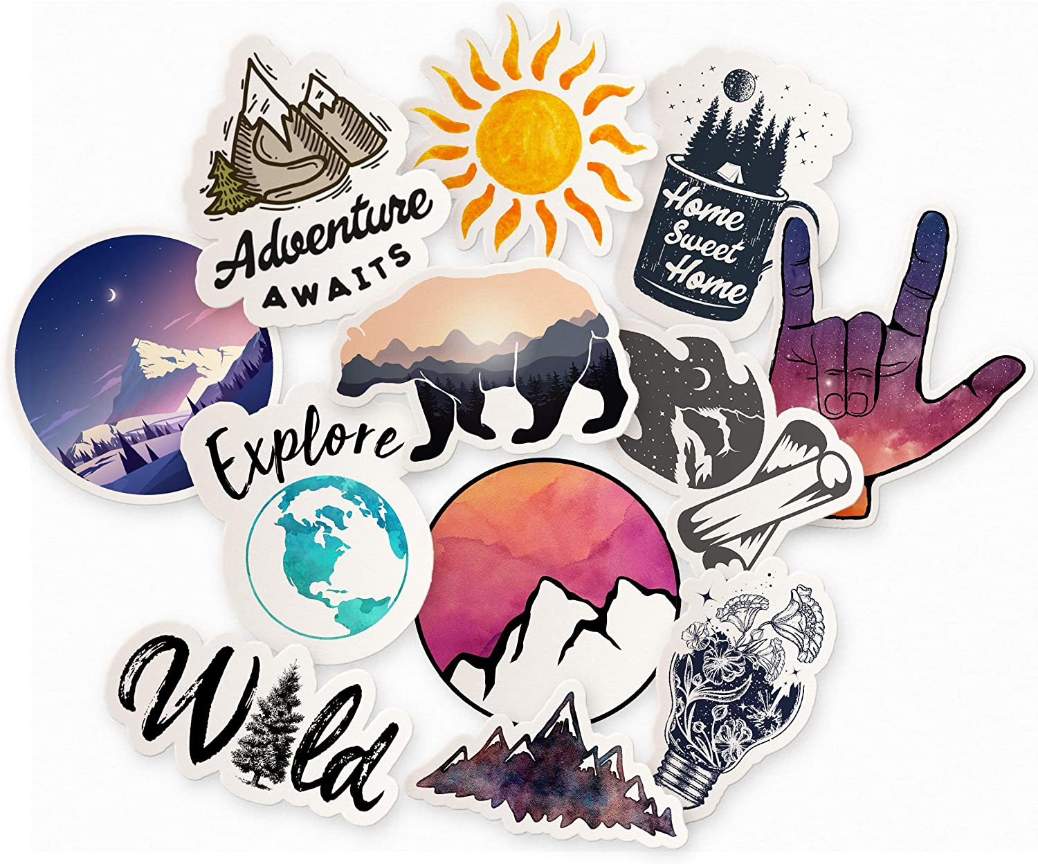 Adventure Sticker Pack for Water Bottles, 12 Pack Waterproof Stickers for Water Bottle, Mountain Decals, Trendy Outdoor Packs, Nature Stickers for Laptop, Outdoor Stickers, Outdoor Sticker Pack