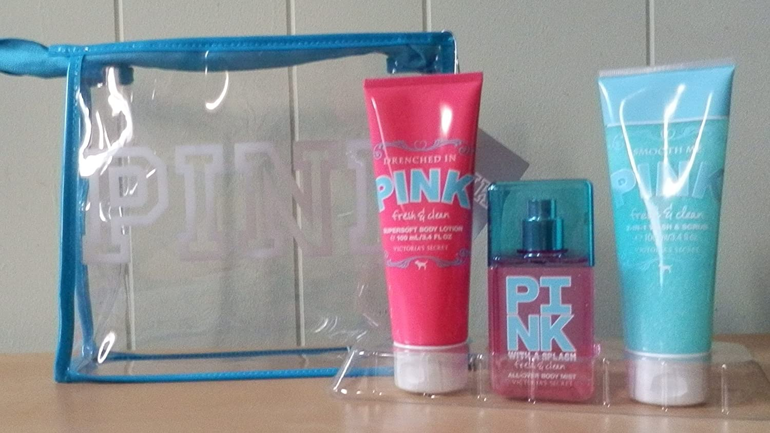 Victoria's Secret PINK Fresh & Clean Set - Mist, Lotion & Scrub Set in Gift Bag Victoria's Secret
