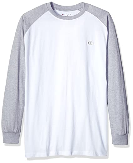 591995fae Champion Men's Big and Tall Ls Tee with Lc c, White/Heather Grey,