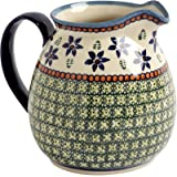 Blue Green Flowers Handmade Ceramic Pitcher Ceramika Wiza Genuine Hand Painted Polish Pottery, 48 oz, 6 Cups