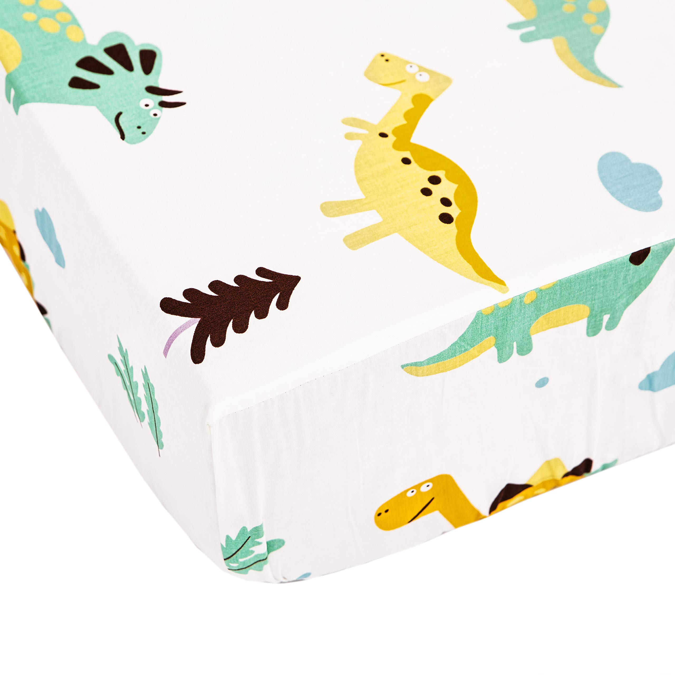 Brandream Dinosaur Crib Sheets for Boys Baby Bed Sheet White 100% Cotton Fitted Crib Sheet for Baby Boys as Toddler, Infant