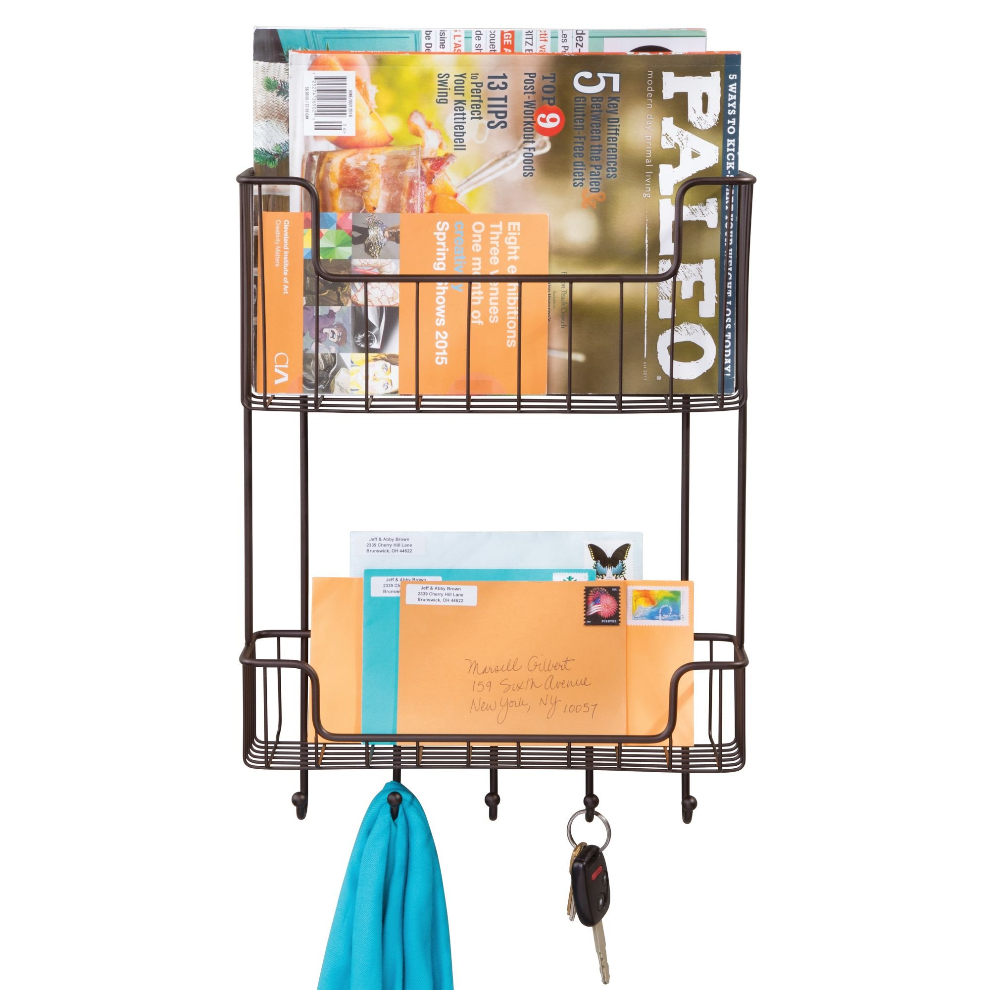 mDesign Wall Mount 2-Tier Mail, Letter, Magazine Holder, Key Rack, and Accessory Organizer for Entryway, Hallway, Mudroom – Strong Steel Wire Design, Bronze by mDesign (Image #4)