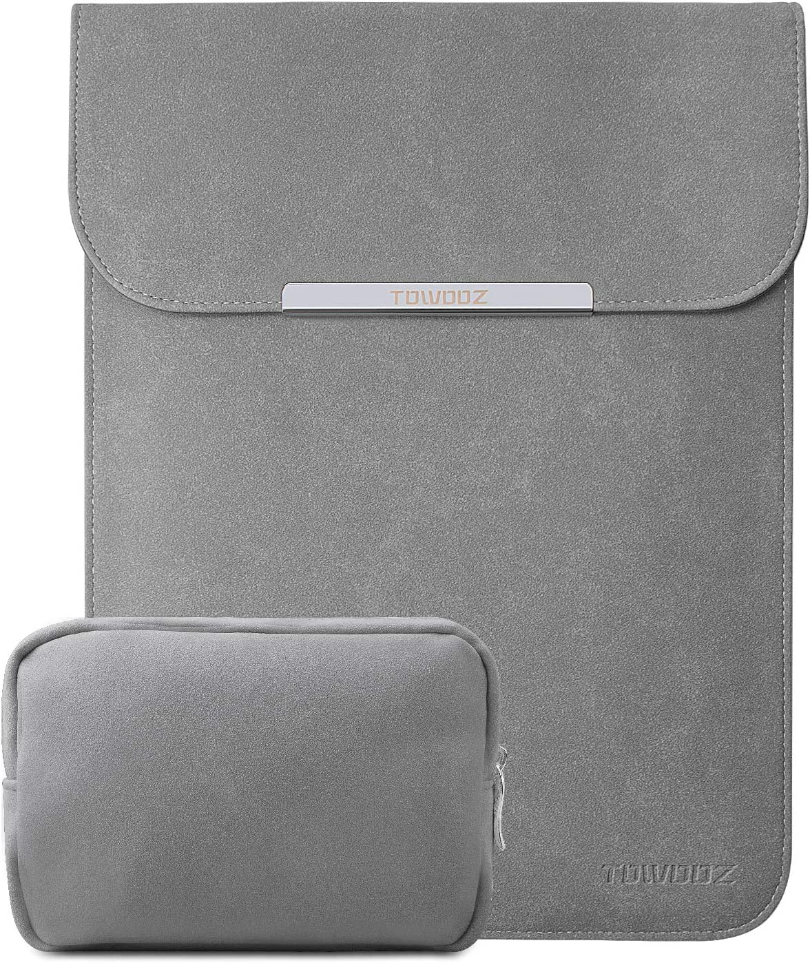 TOWOOZ 13.3 Inch Laptop Sleeve Case Compatible with 2016-2020 MacBook Air/MacBook Pro 13-13.3 inch/iPad Pro 12.9/Surface Pro, Artificial Leather, Innovative Materials, with a Accessory Bag, Gray