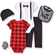 Little Treasure Unisex Baby Clothing Set, Lumberjack Bow Tie 6-Piece Set, 0-3 Months (3M)