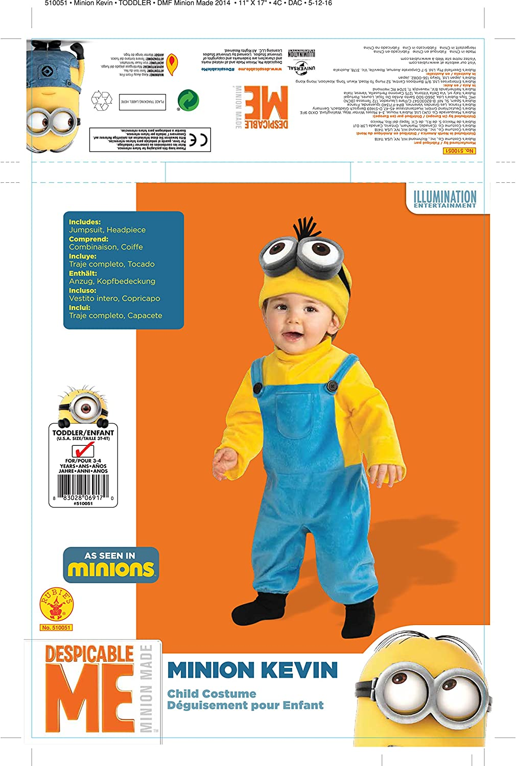 Minions Movie: Kevin Toddler Kids Costume