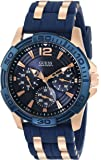 GUESS Men's U0366G4 Iconic Sporty Blue Silicone & Rose Gold-Tone Watch with Day, Date & 24 Hour Int'l Time