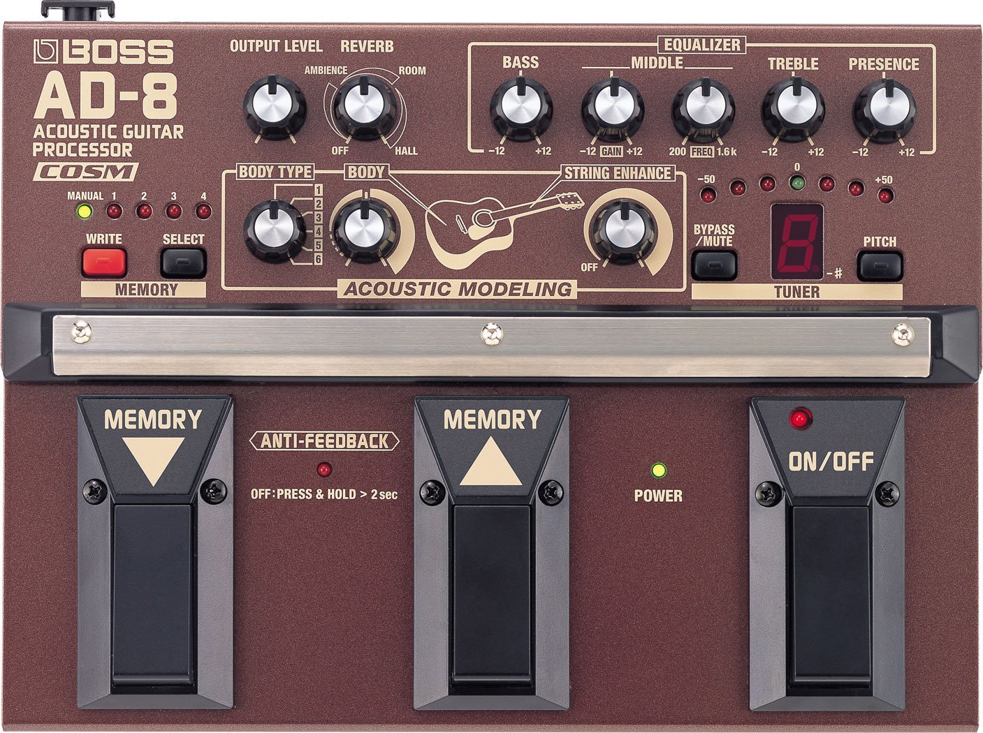 Boss AD-8 Acoustic Guitar Processor w/Bonus PVP-101 Variety Pick-Pack (x12) 761294082331