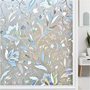 Autik Decorative Window Film 3D Window Sticker Static Cling Vinyl Privacy Glass Film Non Adhesive for Glass Door Home Tulip 17.5 x 78.7 Inches