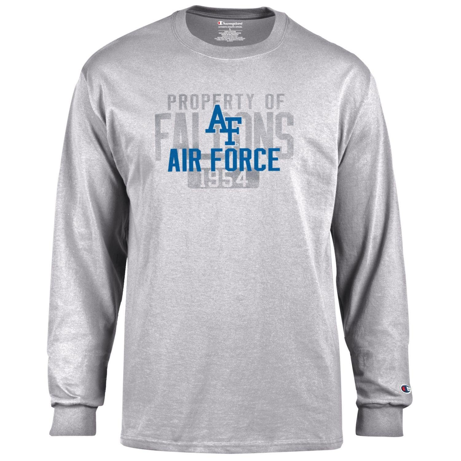 Champion NCAA Men's Long Sleeve Lightweight T-shirt Officially Licensed 100% Cotton Tagless Tee Air Force Falcons Small