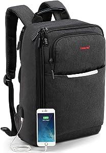 KUPRINE Travel Anti Theft Slim Durable Laptop Backpack Gift for Men Women with USB Charging Port,Water Resistant Lightweight Business College School Bookbag Computer Bag Fits 15.6 Inch Laptop Notebook