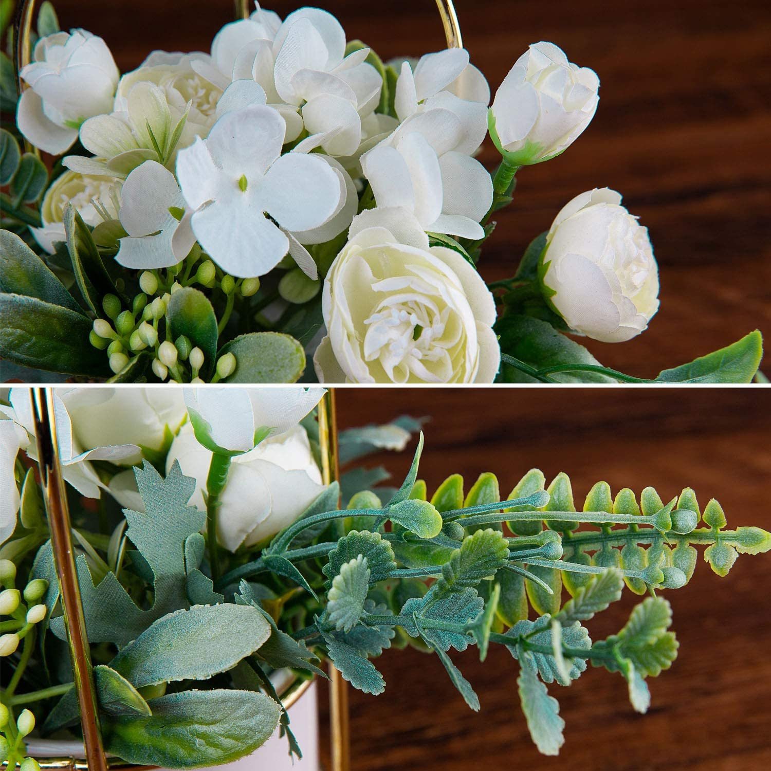 Czemo Artificial Flowers with Vase Included Fake Flowers in Pot Real Touch Silk Flowers Plastic Flowers Bouquet for Home Decoration White