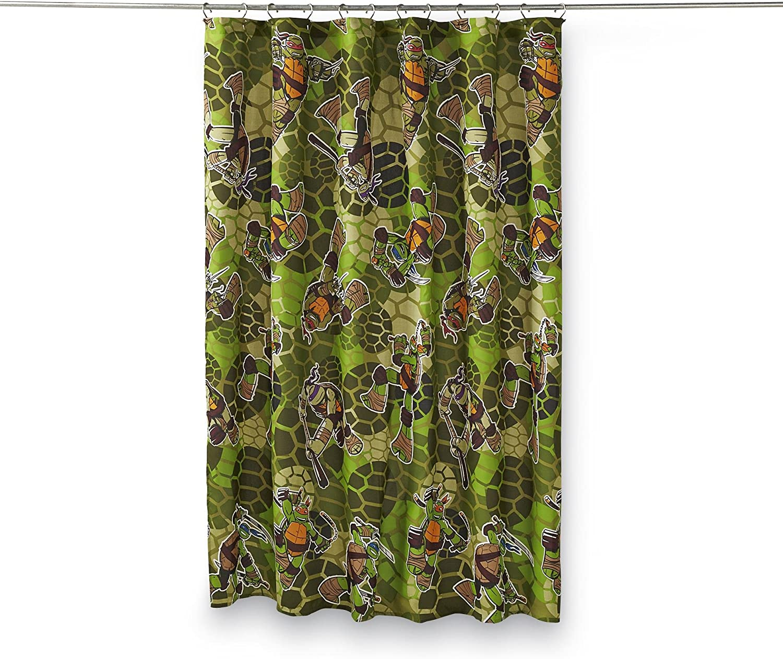 Nickelodeon Teenage Mutant Ninja Turtles Micro Fiber Shower Curtain, Camo