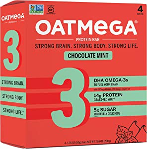 Oatmega Protein Bars, Chocolate Mint, Healthy Snacks Made with Omega-3 and Grass-Fed Whey Protein, Gluten Free Protein Bars, 1.8oz (4 Count)