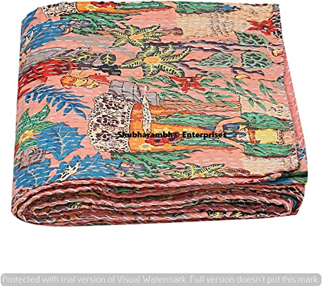 Red Paisley Print Handmade Bed Cover Hippie Cotton Kantha Decorative Floral Print Bohemian Cotton Kantha Quilt Boho Bedding Decorative Twin// Single Stitched Bed Cover Bedding Comforter Decor